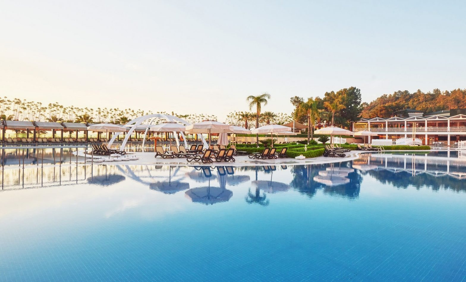 Swimming Pool and Beach of Luxury Hotel