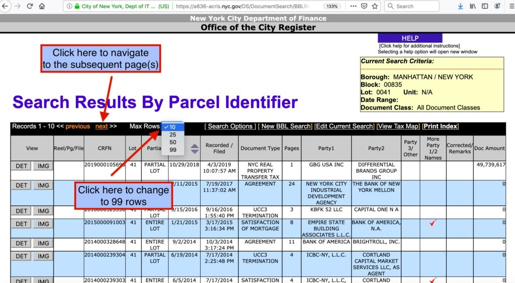 search result by parcel Identifier