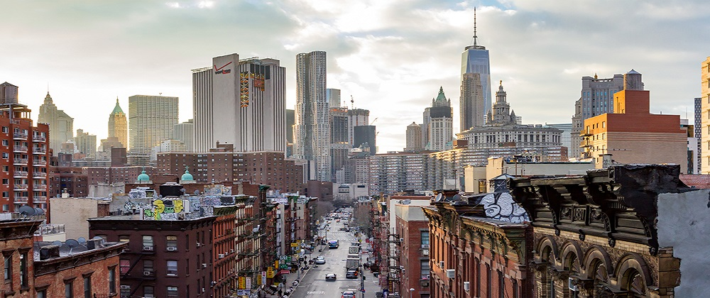 New York City - Panoramic view of the crowded buildings of the M